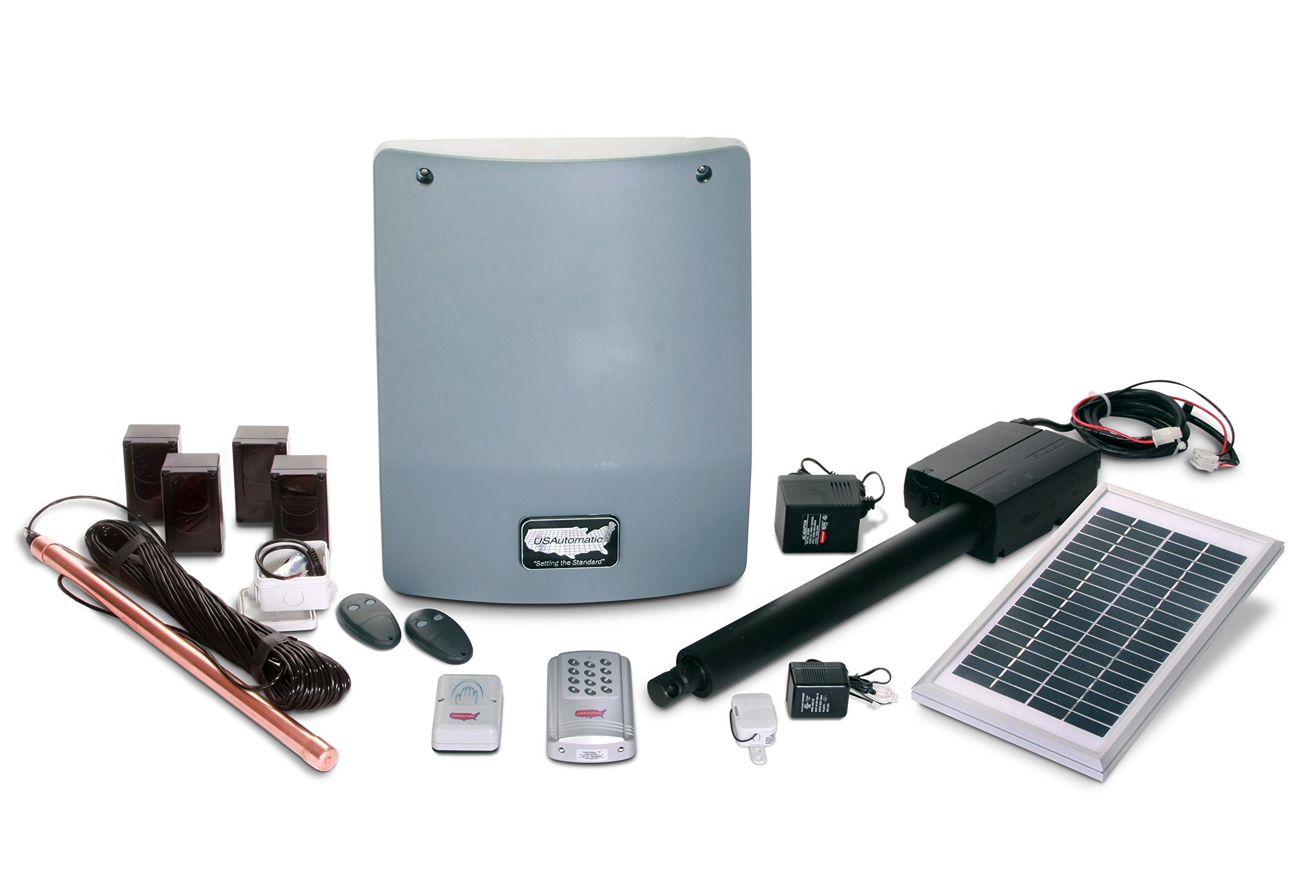 USAutomatic 020350 Medium 300 Solar Charged Automatic Gate Opener Single Gate Fully Automated Kit by US Automatic
