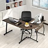 Green Forest Office Desk L-Shape Corner Computer PC Table Workstation 3-Piece for Home,Switch 2 Sides,3D Walnut