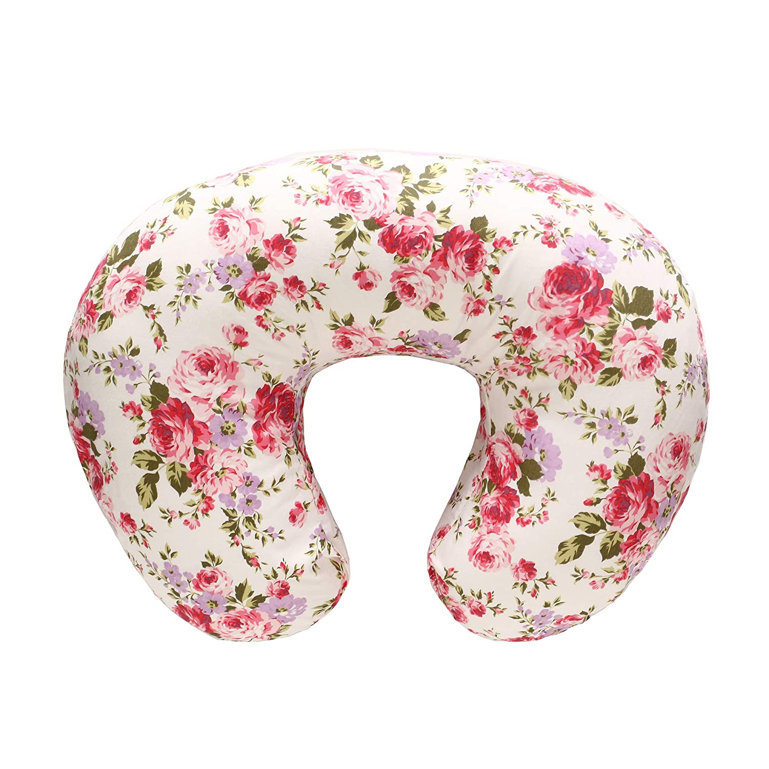 LAT Nursing Pillow Cover,100% Natural Cotton Breastfeeding Pillow Slipcover,Extra Soft and Snug on Baby Nursing Pillow(Flower)