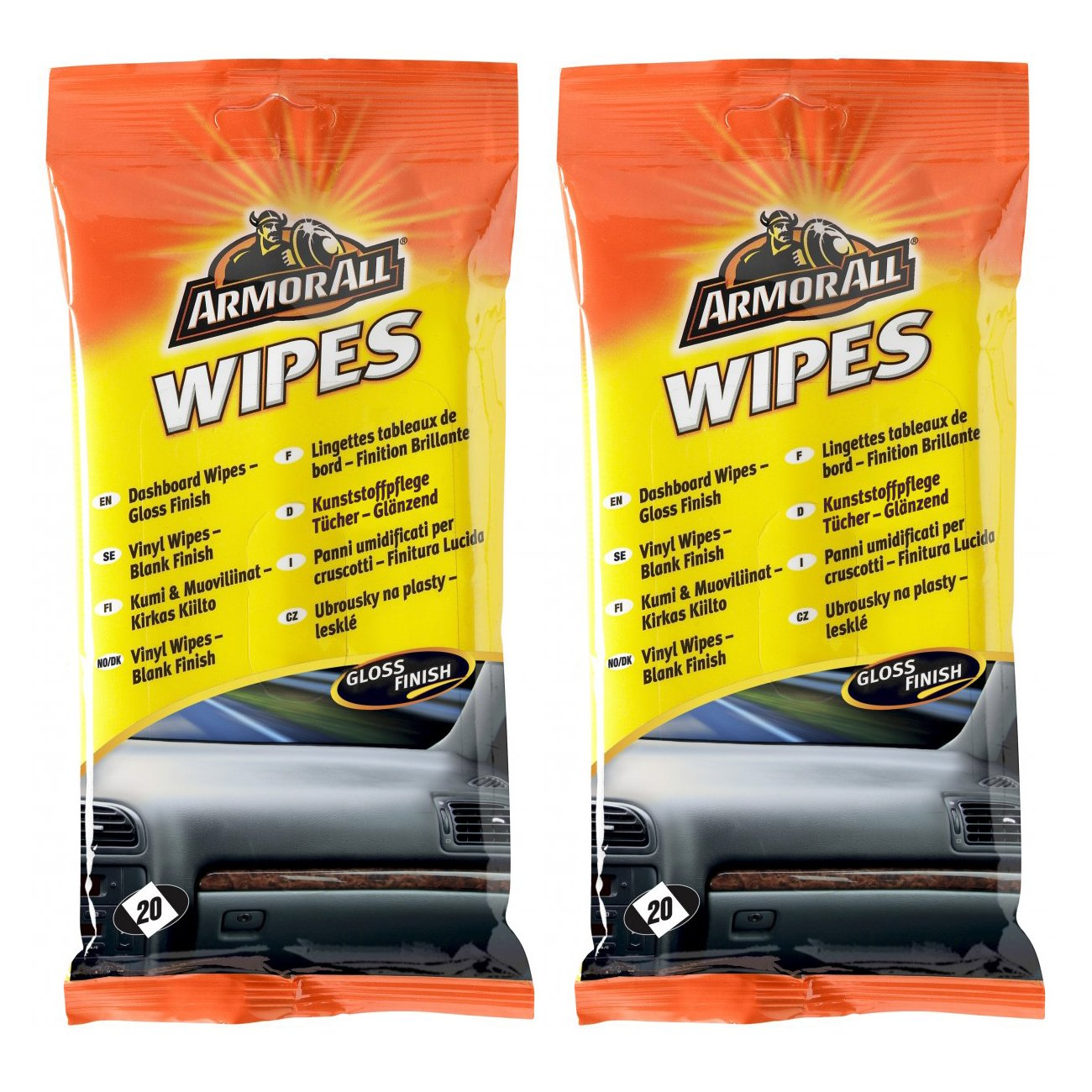 2 x Armorall Car Interior Dashboard Cleaner Protector Wipes (20) - Gloss Finish