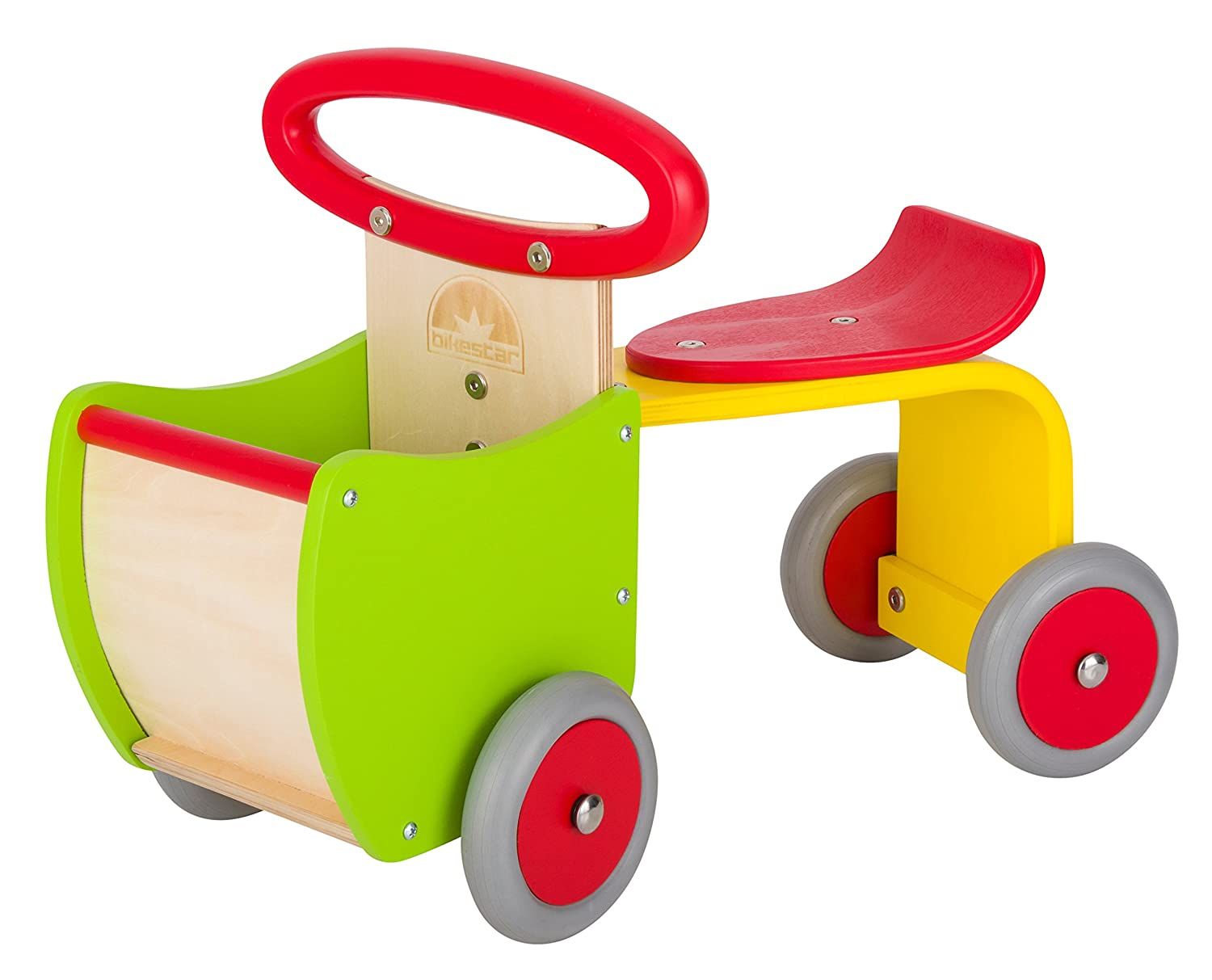 BIKESTAR Kids Wooden Ride On Car 4 Wheeler Vehicle Walker with Rubber Tires Wheely for Children Age 1 Years | Wood Racer Edition | Green Star-Trademarks