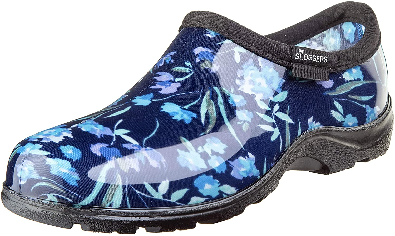 Sloggers 5119FCBL06 Wo's sz 6 Waterproof Comfort Shoe, 6, Blue Fresh Cut Print