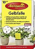 AEROXON Gelbfalle - 10 Stück - für Topf, Garten und Balkon - wirkt gegen die geflügelte Blattlaus, Minierfliege, Trauermücke und weiße Fliege