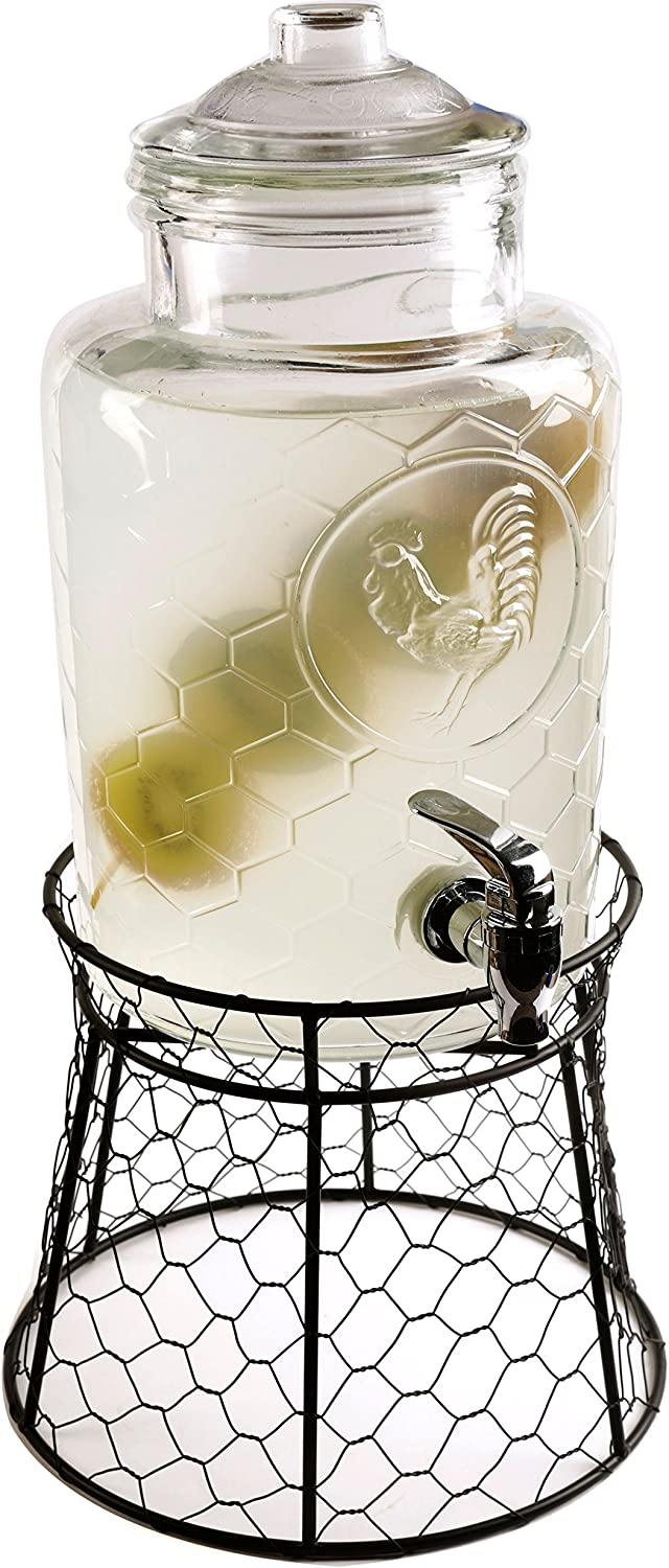 Circleware Beverage Dispenser with Metal Fence Glass Lid Sun Tea Jar with Spigot Entertainment Kitchen Glassware Drink Water Pitcher for Kombucha Juice, Rooster 1.3 Gal W-Stand