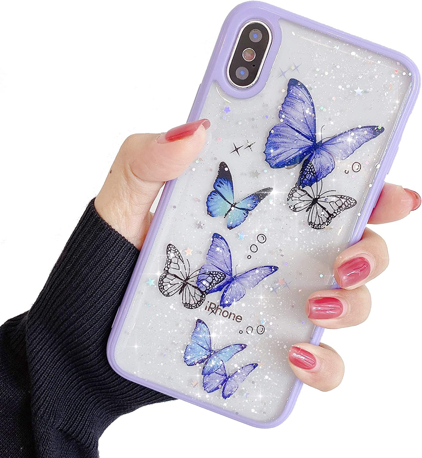 Compatible with iPhone Xs Max Case for Girls,Soft Slim Fit Full-Around Protective Cute Clear Sparkly Bling Star Butterfly Pattern Phone Case Glitter Cover for iPhone Xs Max-Purple