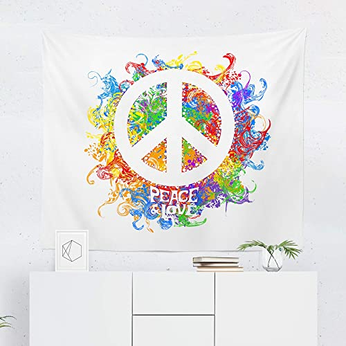 Amazon.com: Peace Sign Tapestry Wall Hanging Rainbow Hippie ...