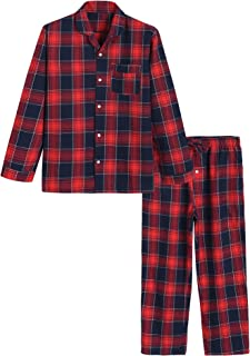 Latuza Men's Cotton Pyjamas Set Plaid Woven Sleepwear