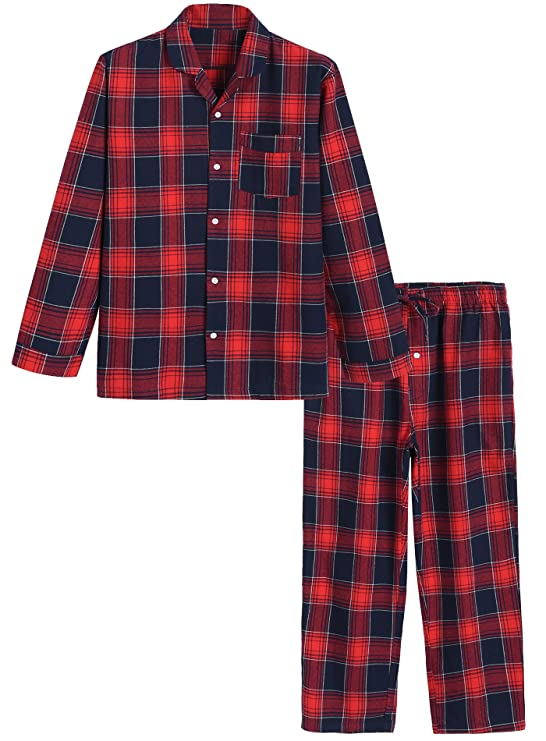 Latuza Men's Cotton Pajama Set Plaid Woven Sleepwear L Red best men's winter pajamas