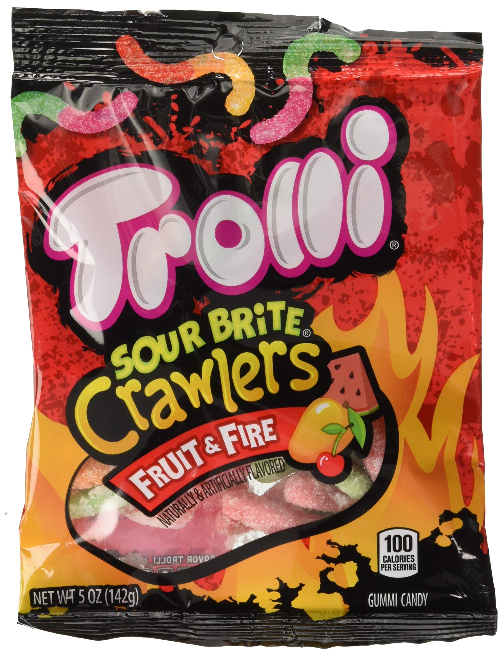 Trolli Sour Brite Crawlers Gummy Worms Fruit & Fire, 5 Ounce Peg Bag (Pack of 12) Sweet, Sour & Spicy Gummy Worms