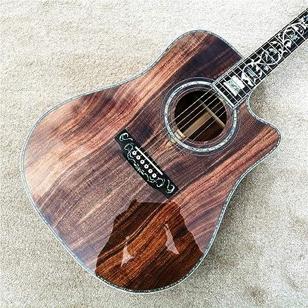 ABMBERTK , Guitarra, abulón de 41 Pulgadas, Guitarra acústica de Madera Koa Cortada, diapasón de ébano , Guitarra koa, Estuche de Guitarra, 41 Pulgadas: Amazon.es: Hogar