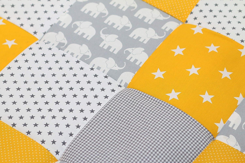 100x100 cm Tapis sol b/éb/é patchwork, Motifs pois, /étoiles, vichy ULLENBOOM /® Tapis d/'/Éveil et Matelas pour Parc B/éb/é /Él/éphant Jaune