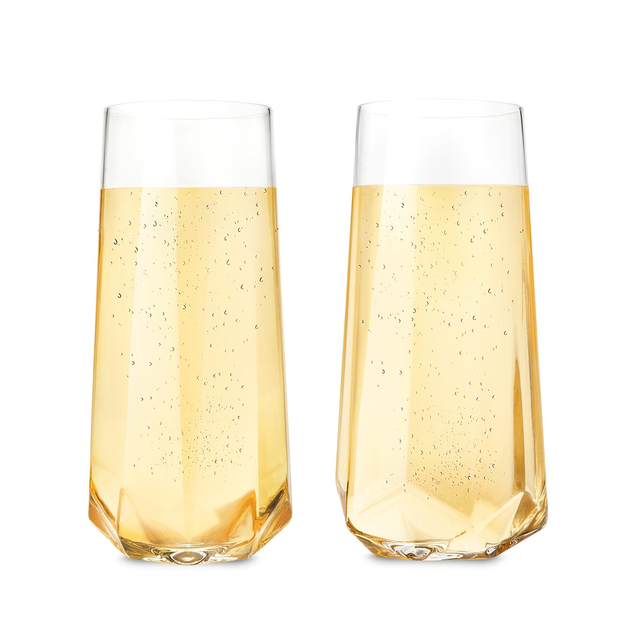 Viski 2215 Raye Faceted Crystal Champagne Glass