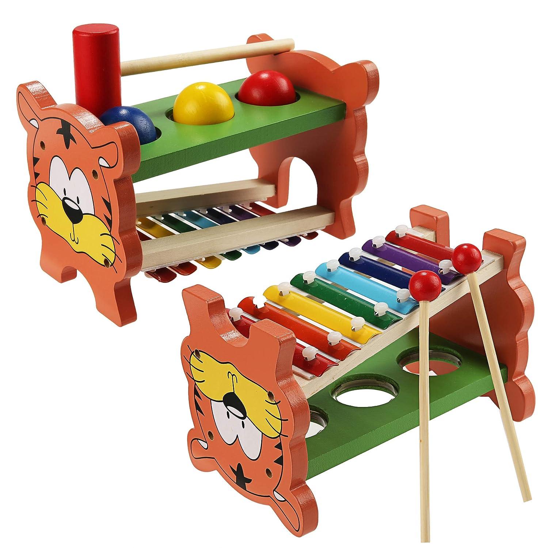 Buyi-World Percussioni per Bambini Strumenti Musicali Giocattolo in Legno, 2-in-1 Giochi Educativi con Palle di 3 colori e Piccolo Martello per Bimbi e Neonati BW