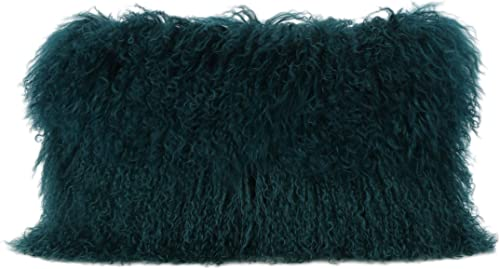 Christopher Knight Home Zally Glam Shaggy Lamb Fur Rectangular Throw Pillow, Dark Teal
