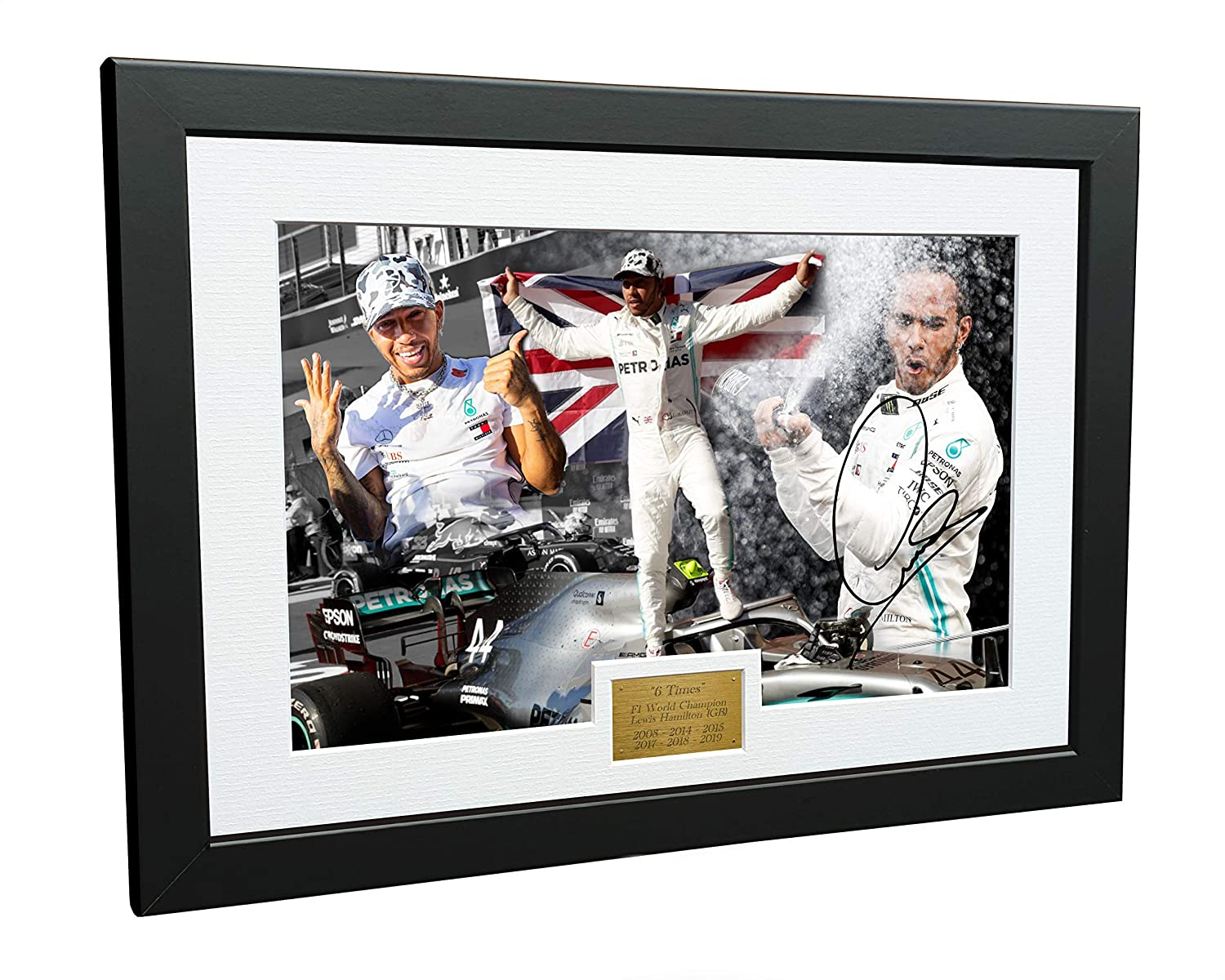 Autographed Photo Photograph Picture Frame Motor Sport Formula 1 F1 Gift Mercedes-AMG Petronas A4 12x8 Signed Lewis Hamilton 6 Times World Champion Celebration Edition