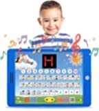 "Spanish-English Tablet Bilingual Educational Toy with LCD Screen Display by Boxiki Kids. Touch-and-Teach Pad for Kids Learning Spanish and English. ABC Games, Spelling, ""Where Is?"" Games, Fun Melodies"