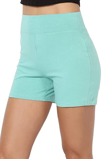 b3803d3307e185 TheMogan Women's Cotton Span High Waist Under Short Yoga Leggings Ash Mint S
