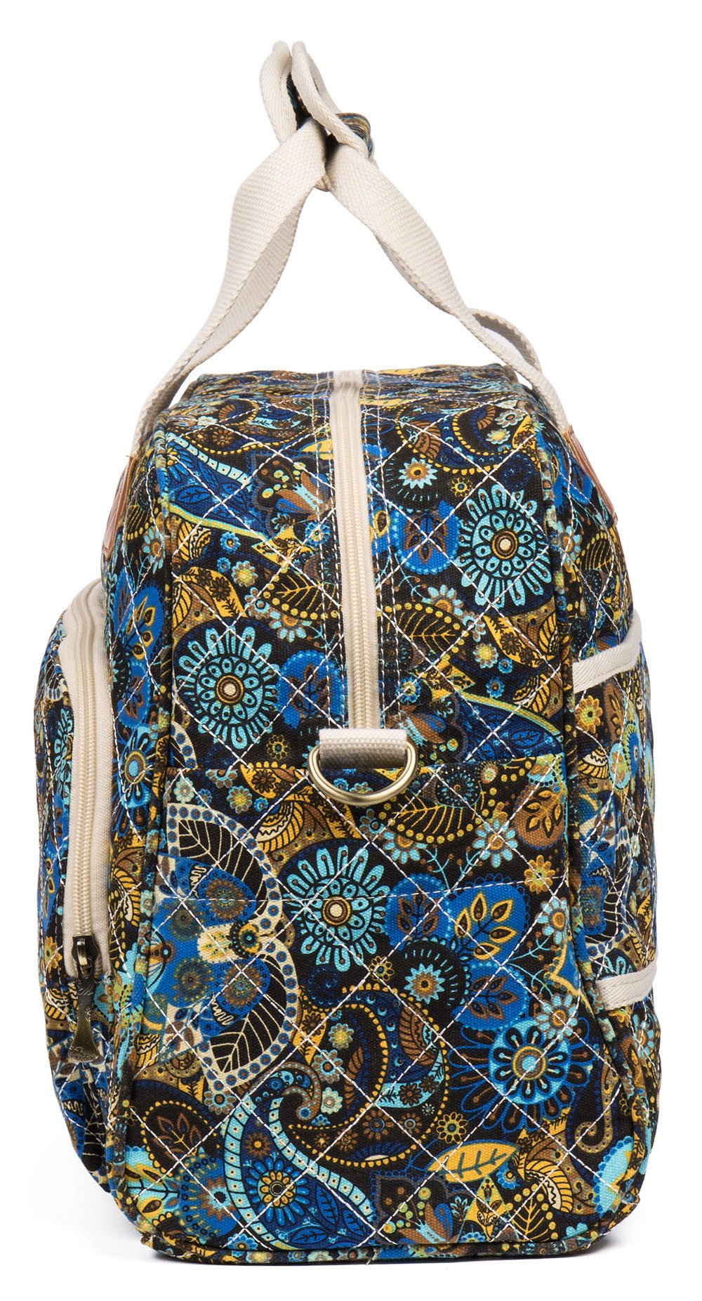 Malirona Canvas Overnight Bag Women Weekender Bag Carry On Travel Duffel Bag Floral (Black Flower) by Malirona (Image #3)