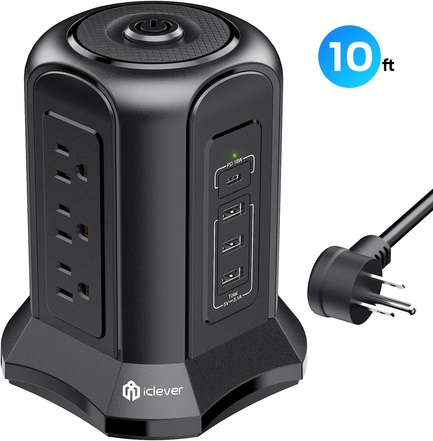 Power Strip Tower Surge Protector, iClever 9 AC Outlets,15.5W 3 USB-A Port, 18W PD 1 Type C USB-C Charging Port and 10ft Extension Cord with Overload Protected, Power Strip Flat Plug for Home Office