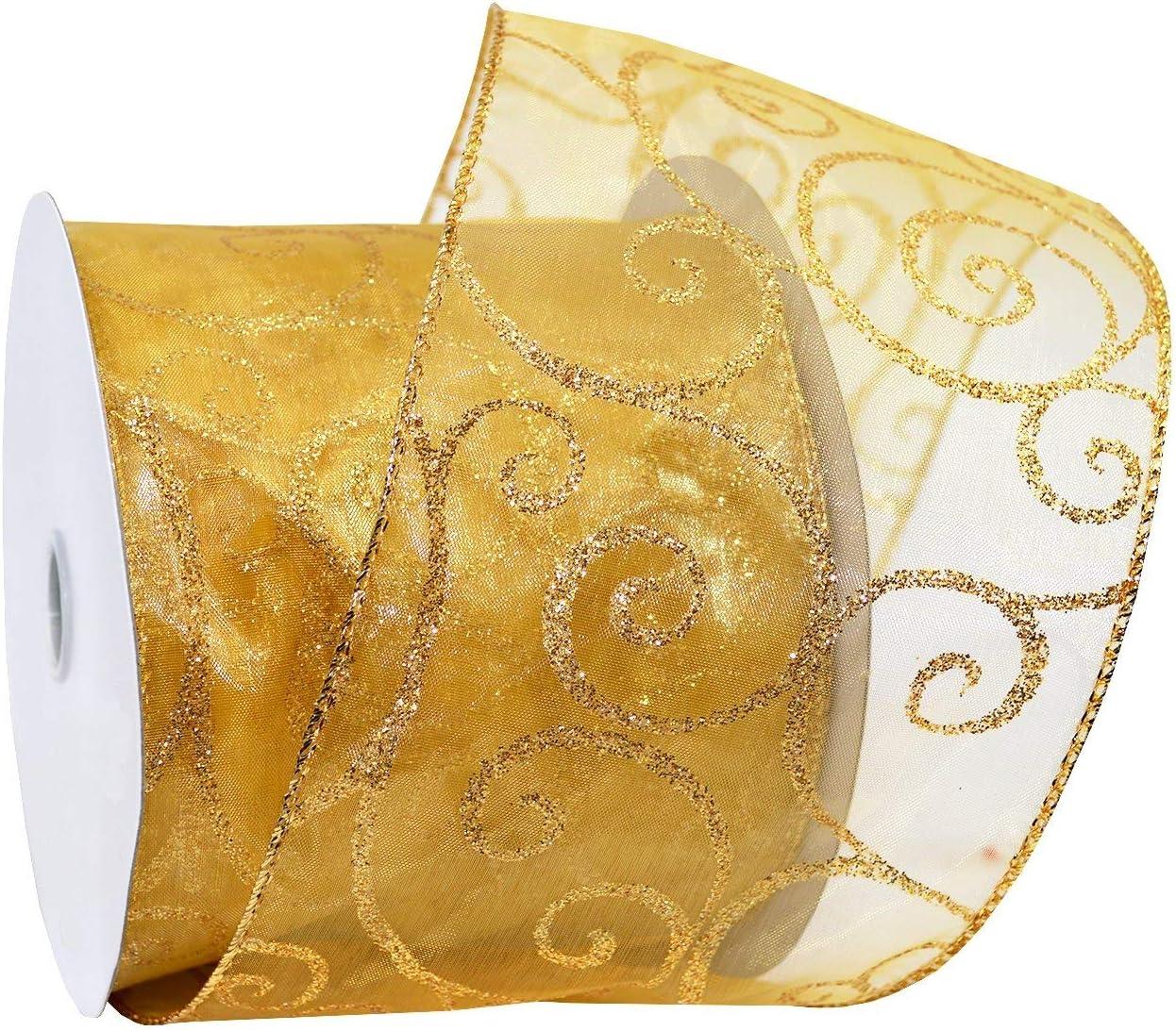 Amazon Com Morex Ribbon Swirl Wired Sheer Glitter Ribbon 4 Inch By 25 Yard Spool Gold Gold