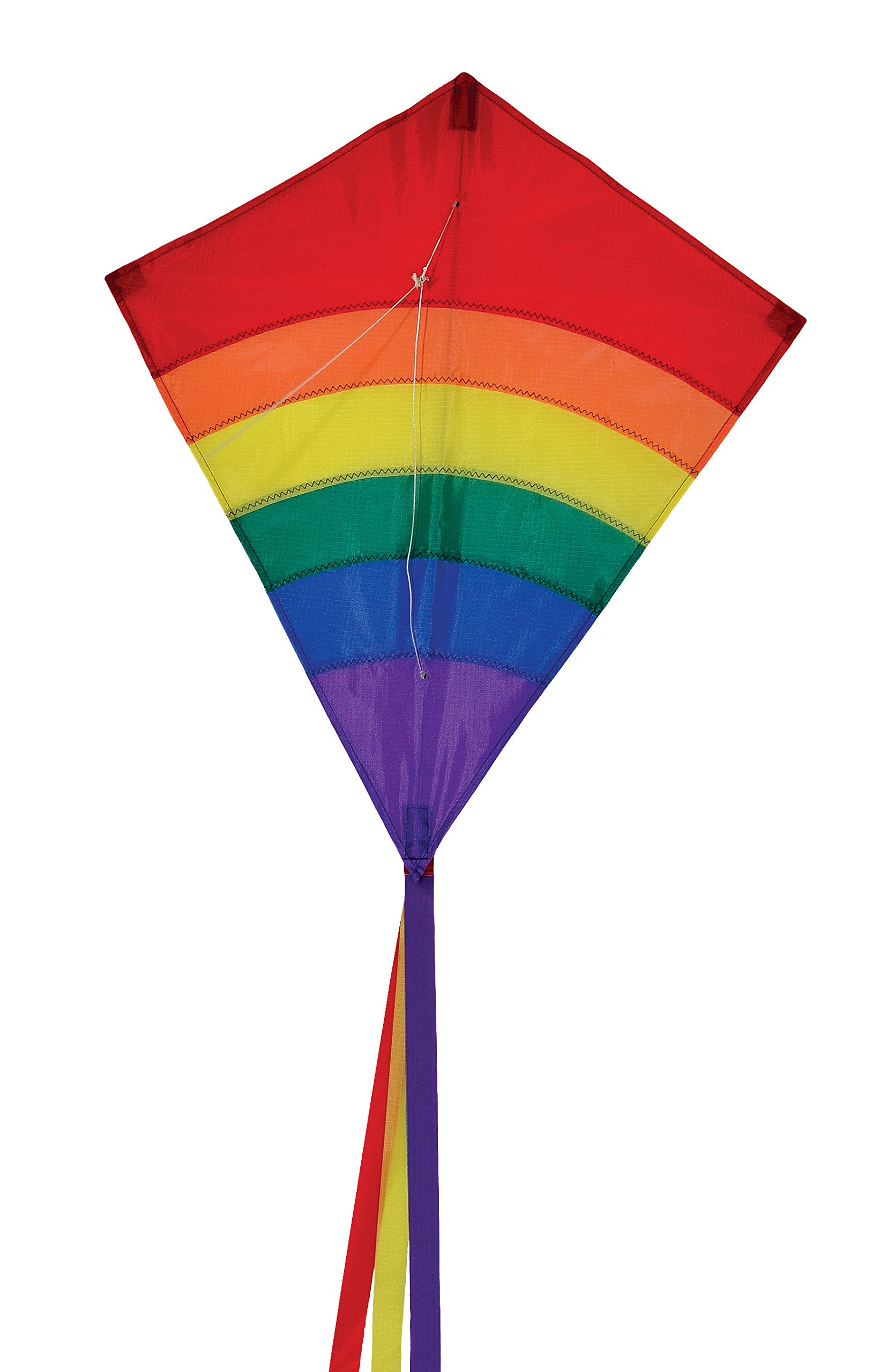 In the Breeze Rainbow 27 Inch Diamond Kite - Single Line - Ripstop Fabric - Includes Kite Line and Bag - Great Beginner Kite