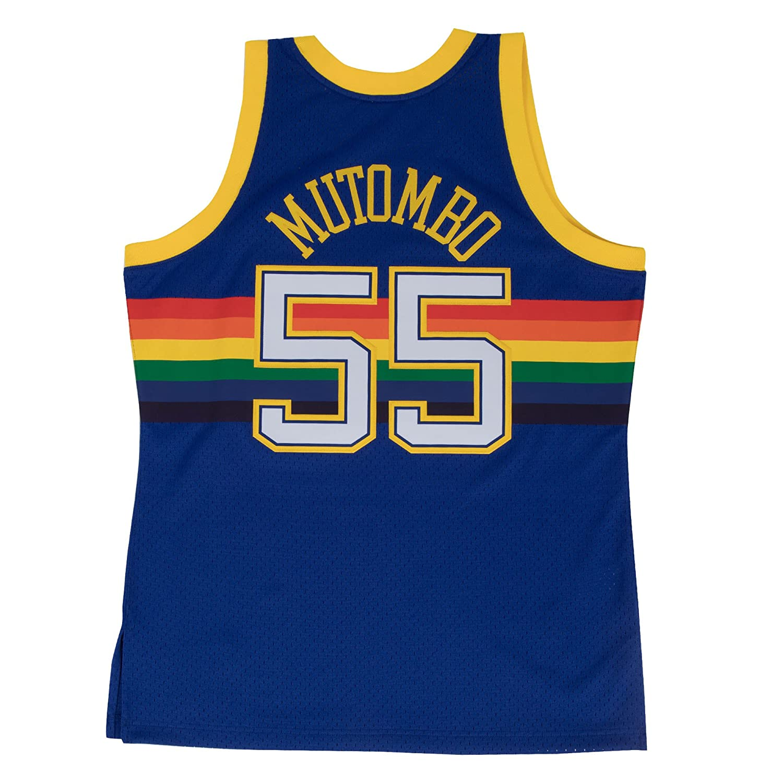 official photos f9b0e ff753 Amazon.com   Mitchell   Ness Dikembe Mutombo 1991-92 Denver Nuggets Blue  HWC Swingman Jersey   Clothing