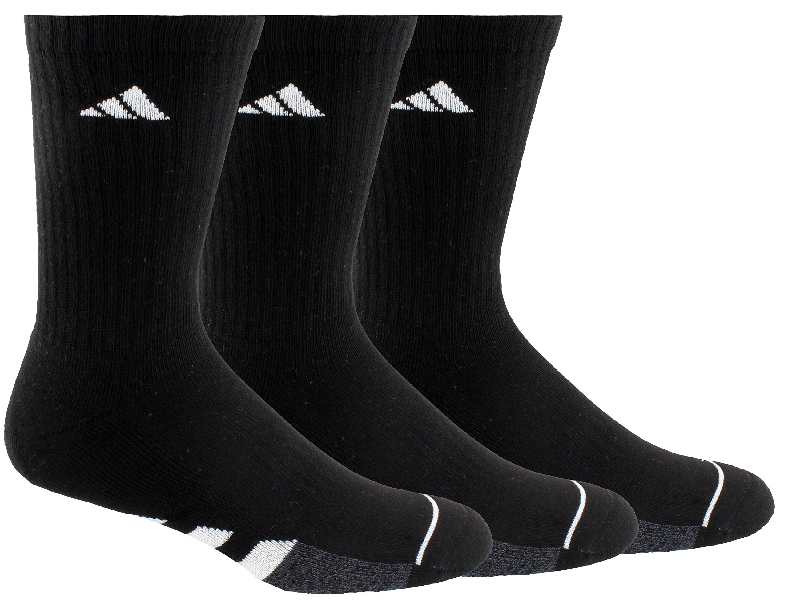 adidas Men's Cushioned Crew Socks (3-Pair), Black/White/Black - Onix Marl, XL, (Shoe Size 12-16) by adidas