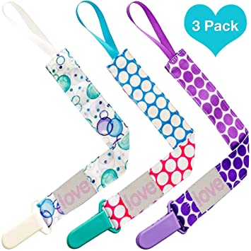 Amazon.com : Lillys Love Pacifier Leash Clip 3 Pack - Great ...