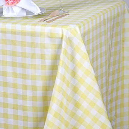 BalsaCircle 90 Inch X 156 Inch Yellow Checkered Tablecloth Table Linens  Wedding Party Events