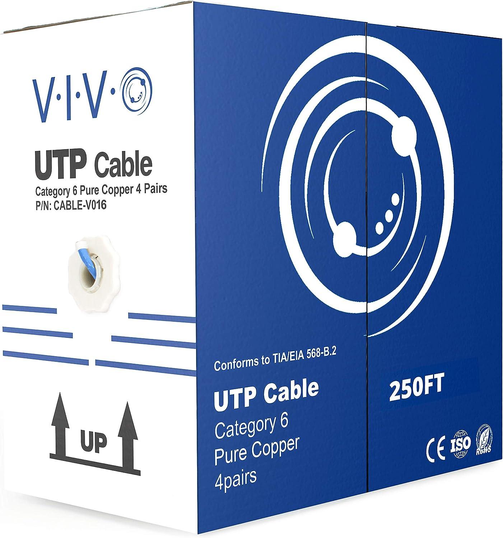 CAT6 500FT UTP CCA Cable 23AWG Ethernet LAN Bulk Wire CAT6 RJ45 Blue Pull Box