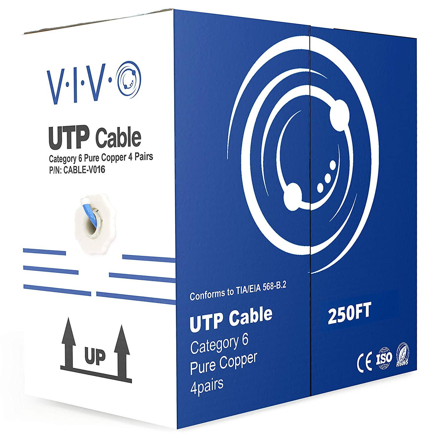 Vivo New Full Copper 1000 Ft Bulk Cat6 Ethernet Cable B Amp A Cat 6 Keystone Jack Wiring Diagram Wire Utp Pull Box 1000ft Grey V009 Computers Accessories