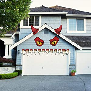 CCINEE Halloween Monster Face Outdoor Decoration with Large Eyes Fangs Garage Door Archway Car Decor for Halloween Party Decorations Supplies