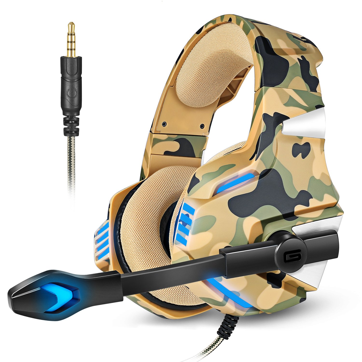 Gaming Headset for PS4 Xbox One, Micolindun Over Ear Gaming Headphones with Mic Stereo Surround Noise Reduction LED Lights Volume Control for Laptop, PC, iPad, Smartphones