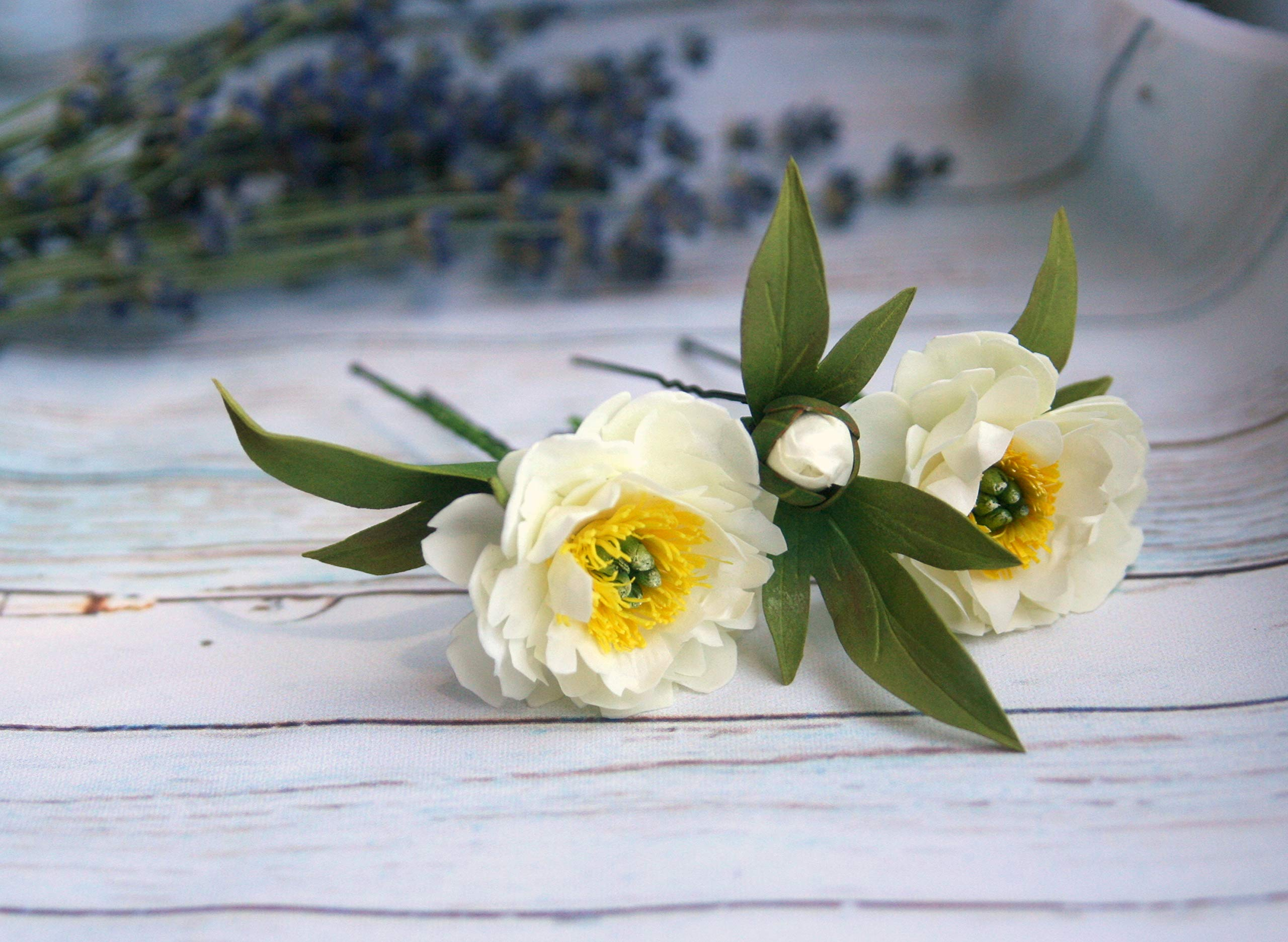 White peony hairpin flower set 3