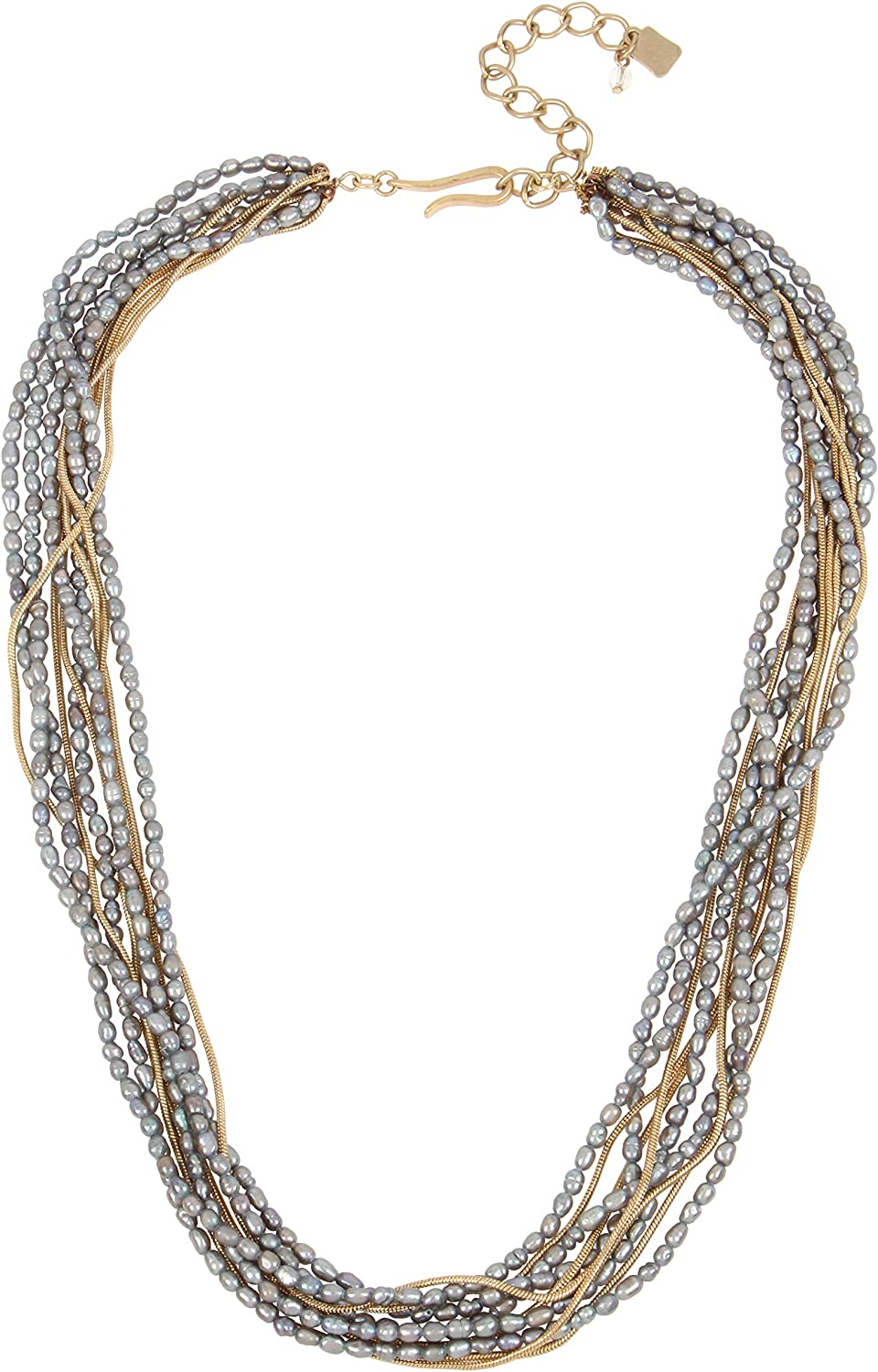 Robert Lee Morris Soho Womens Mixed Pearl /& Chain Layered Necklace Grey One Size