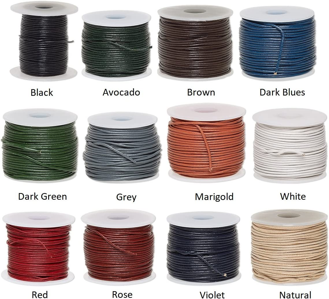 1.4-1.6mm Leather cord dyed black round 1 spool 5 yards