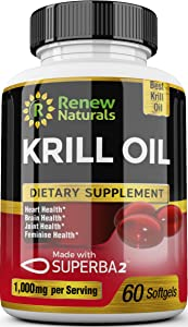 Antarctic Krill Oil 1000 mg Serving with Omega-3s EPA DHA Astaxanthin Supports Healthy Heart Brain Joints 60 Softgels 100% Money Back Guarantee!