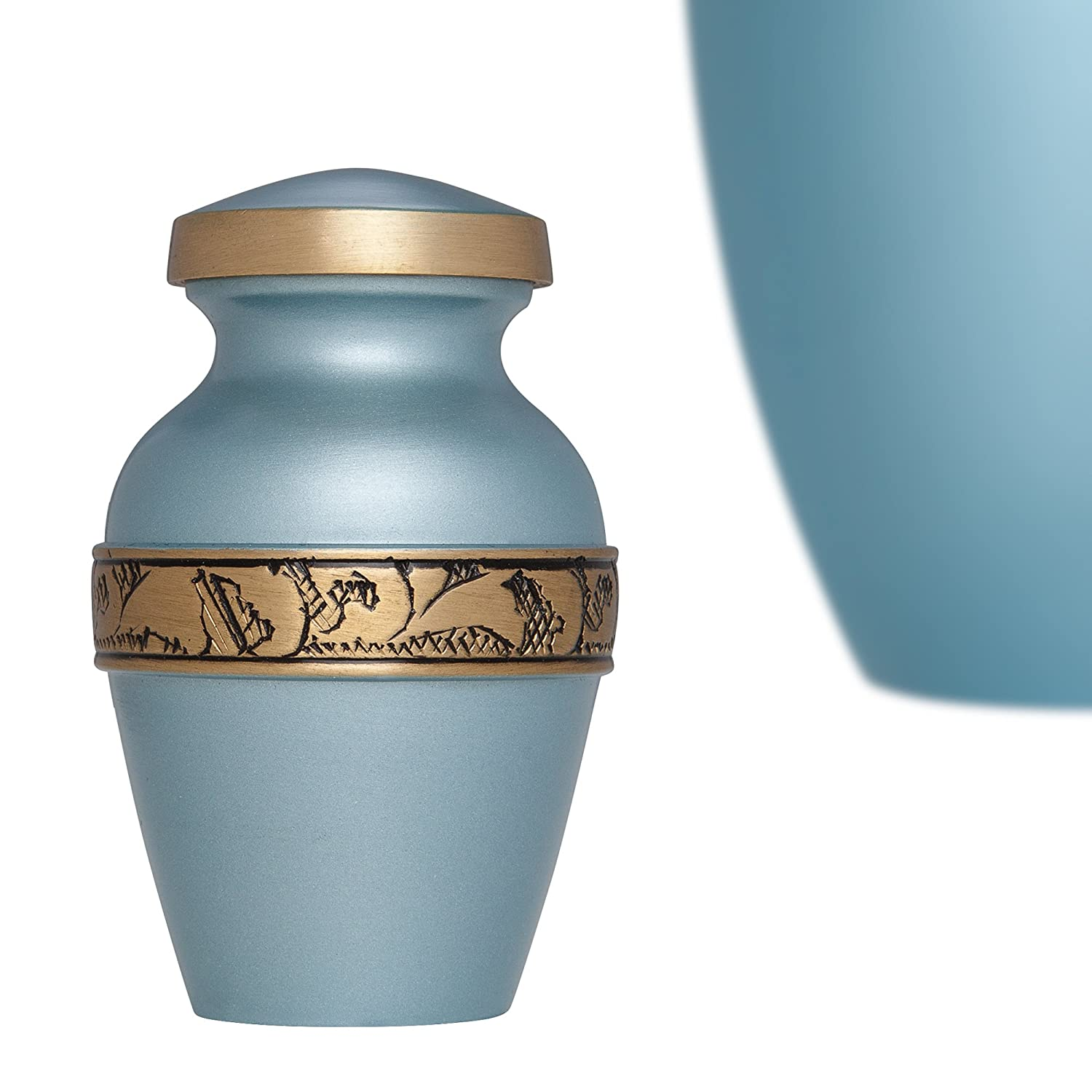 Blue Mini Keepsake Urn with engraved gold band • Miniature Funeral Cremation Urn fits Small Amount of Ashes • Vignoble Model • 3 inches Tall Liliane Memorials