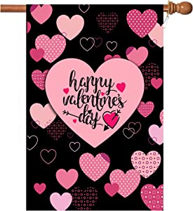 Valentine Flag, Double Sided Valentine's Day Flag Love Combination Valentine Garden Flag 28 x 40 Inch Valentine House Flags for Valentine's Day Decoration with 2 Grommets