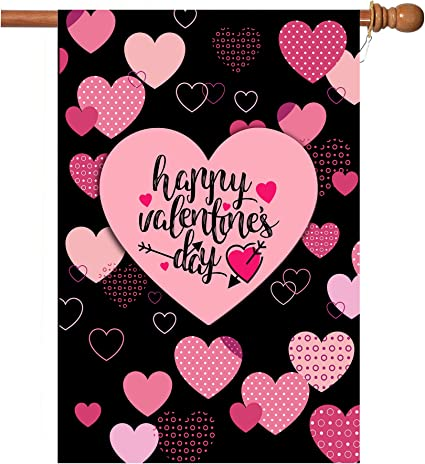 Welcome Valentine/'s Day love hope Garden Flag Double-sided House Decor Banner