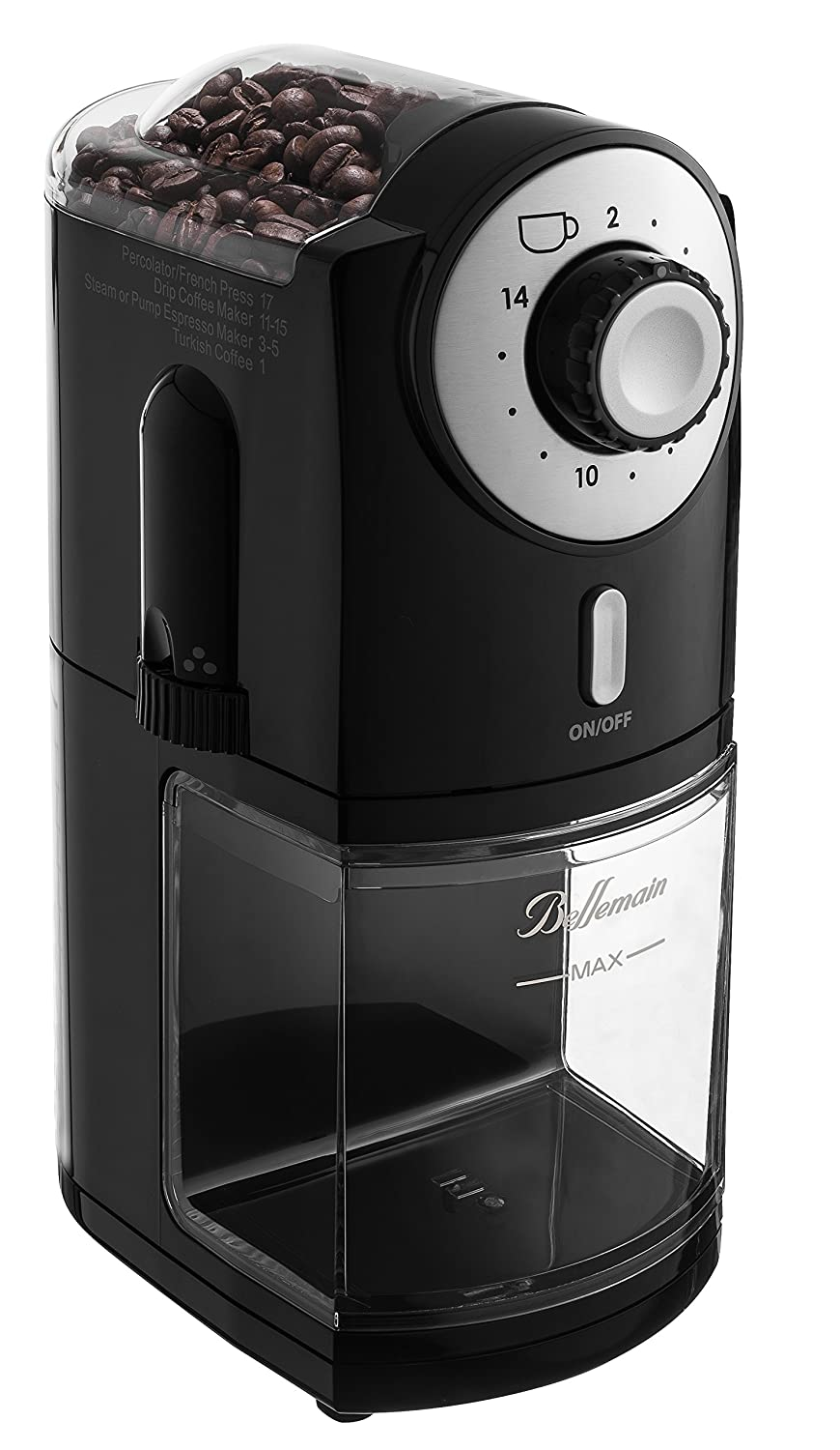 Top Rated Bellemain Burr Coffee Grinder with 17 Settings for Drip, Percolator,, French Press and Turkish Coffee Makers.