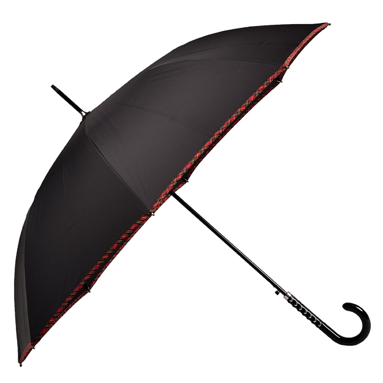 BOLERO OMBRELLI - Ombrello da Pioggia Lungo classico Antivento e Automatico - apertura Automatica per permetterne l'uso con una mano - Tessuto Pongee con bordo Scozzese - Manopola pelle e borchie OM 99931