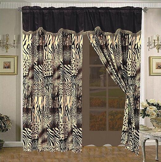 4 pc Black Brown Tan Leopard Window Curtains Panels Drapes Valance Set 84 inch L