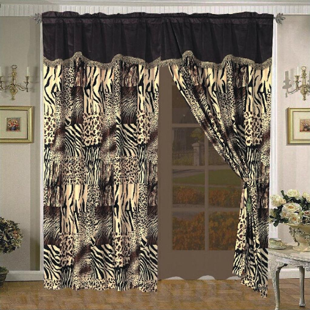 Legacy Decor Multi Animal Print Black, Brown, Tan Window Curtain / Drape Set with Valance