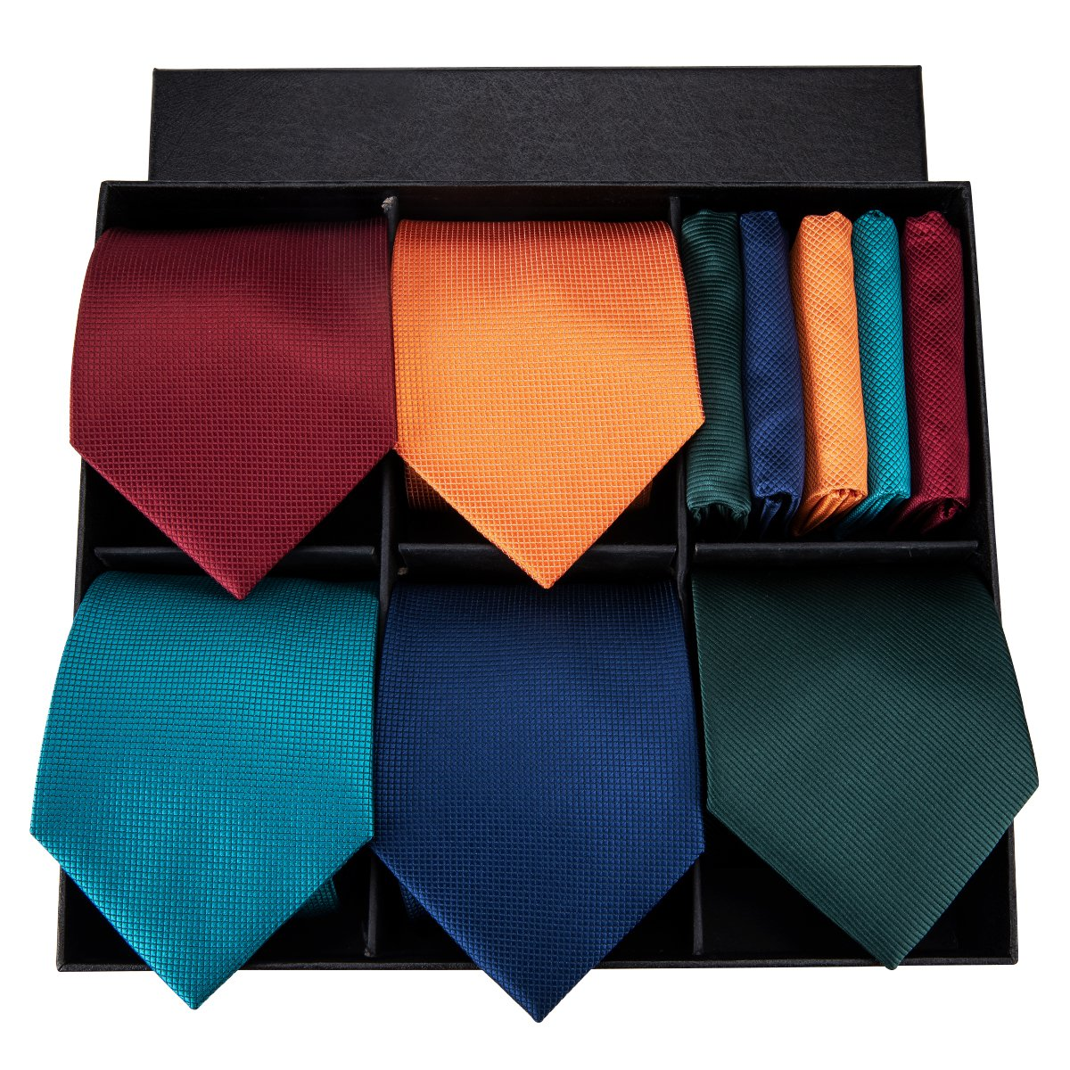 Dubulle Mens Necktie and Pocket Square Cufflinks Set with Gift Box