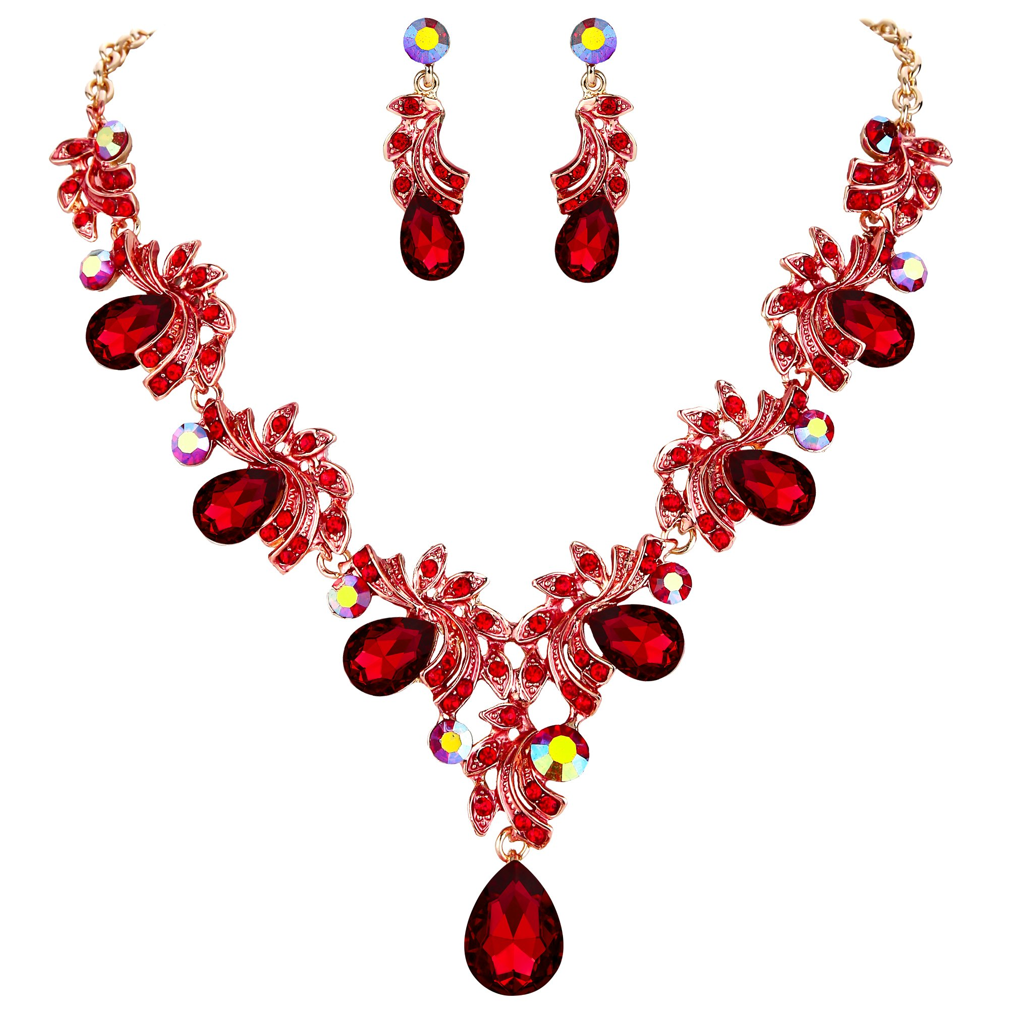 BriLove Wedding Bridal Necklace Earrings Jewelry Set Women Crystal Teardrop Filigree Leaf Twig Enamel Statement Necklace Dangle Earrings Set Ruby Color Gold-Toned