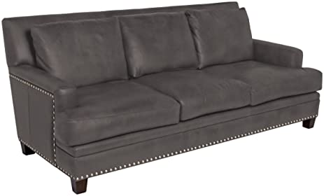 Omnia Leather Glendora 3 Cushion Sofa In Leather, With Nail Head,  Softstations Black