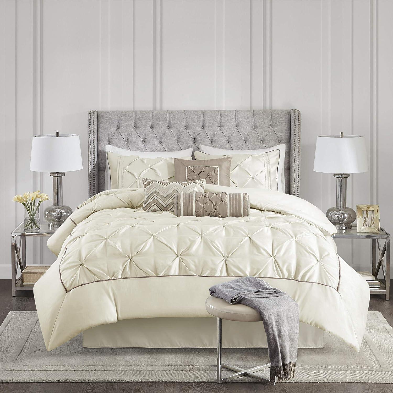 Madison Park Laurel 7 Piece Comforter Set-Ivory-Queen