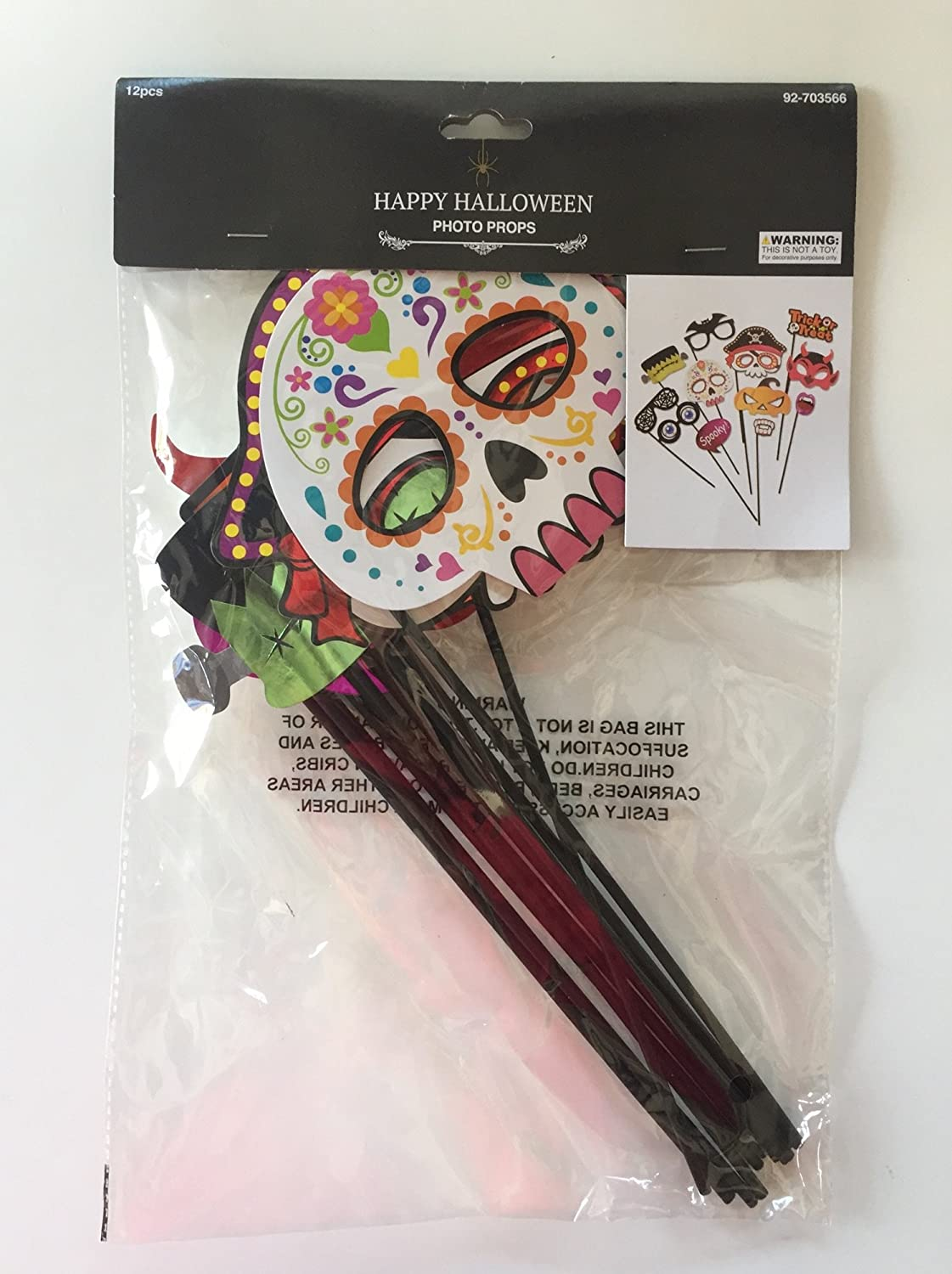 Dia de los Muertos Photo Booth Props Kit 12 Count Day Of The Dead