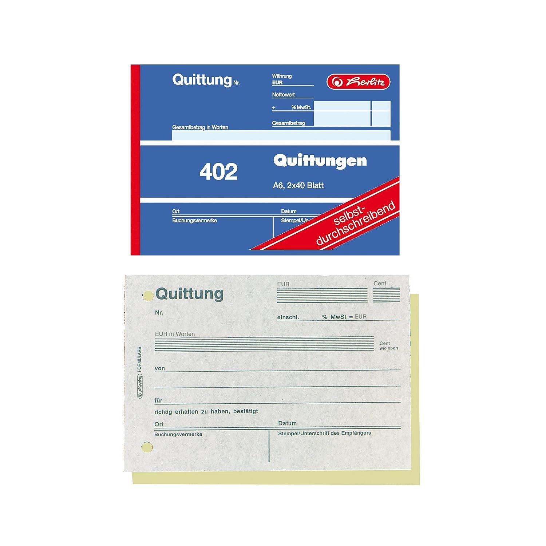 4er Pack Herlitz Quittungsblock A6 402 2x40 Blatt selbstdurchschreibend